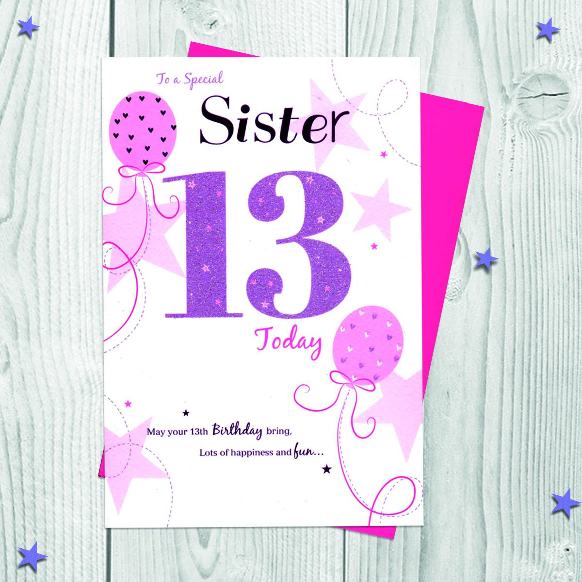 Age 13 Sister Card Alongside Its Envelope