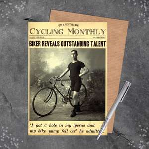 Cycling Monthly Funny Card Sitting On A Display Shelf