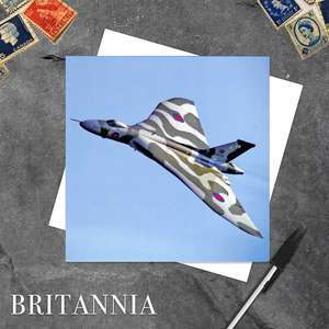 Vulcan Bomber Aeroplane Card Alongside Its White Envelope