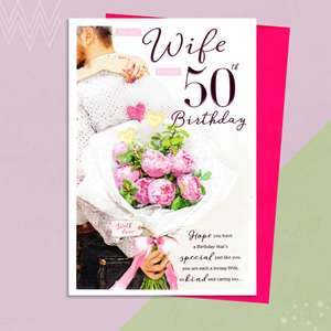 Wife Age 50 Birthday Card Alongside Its Magenta Envelope