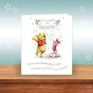 Winnie The Pooh Christening Card Alongside Its Pale Green Envelope