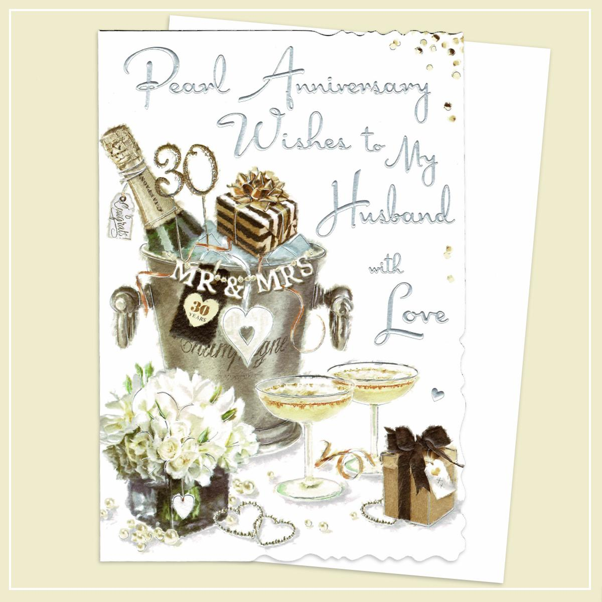 Husband Pearl Anniversary Card Alongside Its White Envelope