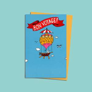 Bon Voyage Balloon Alongside Its Mustard Coloured Envelope
