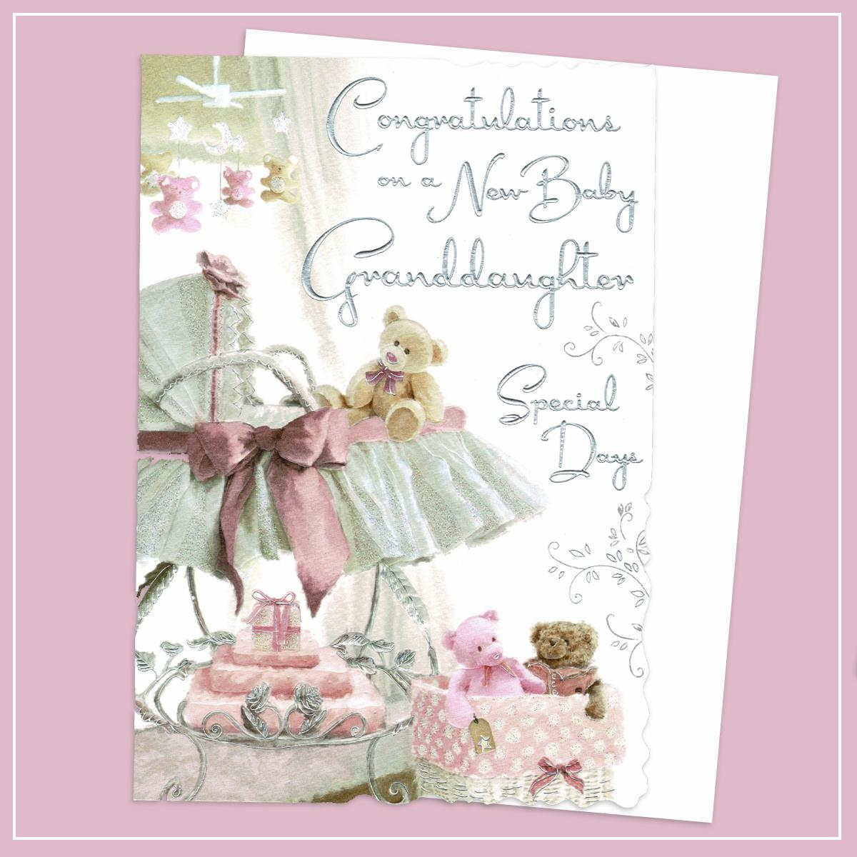 Birth Of Granddaughter Baby Card Alongside Its White Envelope
