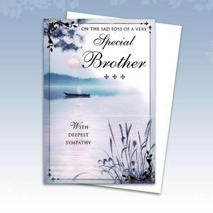 Loss Of Brother Sympathy Card Alongside Its White Envelope