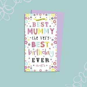 Best Mummy Birthday Card Alongside Its Lilac Envelope