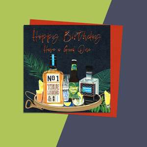 Selection Of Drinks Male Birthday Card From Belly Button Designs Alongside Its Orange Envelope