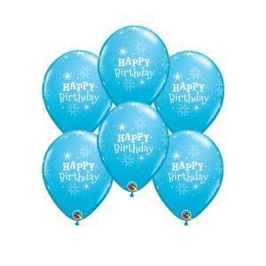 Image Of 6 Inflated Blue Sparkle Happy Birthday Balloons