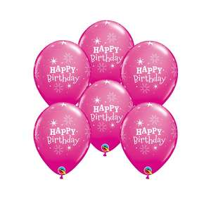 Image Of A Packet Of 6 Pink Happy Birthday Balloons