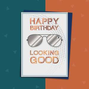 Silver Pair Of Sunglasses Male Birthday Card Alongside Its Royal Blue Envelope