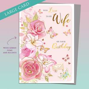 Wife Birthday Butterflies Card Alongside Its Silver Envelope