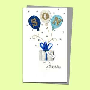 Son Balloons Birthday Card Alongside Its Silver Envelope