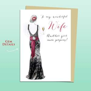 Wife Ball Gown Birthday Card Alongside Its Ivory Envelope