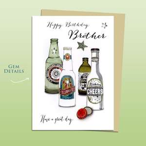 Brother Bottled Beers Themed Birthday Card Alongside Its Ivory Envelope