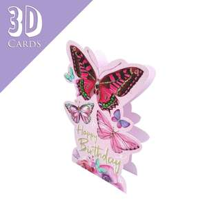 Butterflies 3D Birthday Cards Alongside Its Lilac Envelope
