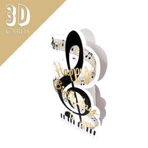 3D Musical Notes Birthday Card Alongside Its Silver Envelope