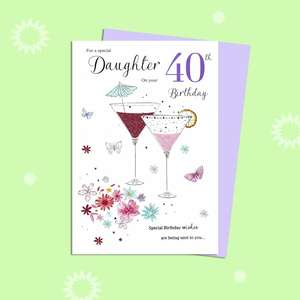 Special Daughter On Your 40th Birthday Card Alongside Its Lilac Envelope