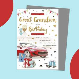 Great Grandson Birthday Card Featuring A Red Sports Car