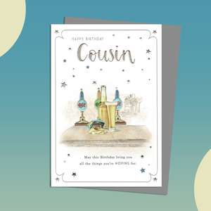 Cousin Birthday Card Featuring A Bar Top With A Beer And Open Packet Of Crsips