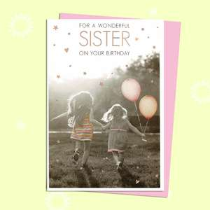 Sister Birthday Card Featuring Two Little Girls Playing Together