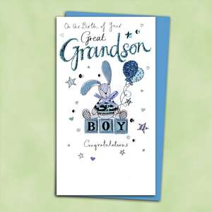 Baby Great Grandson Congratulations Card Alongside Its Blue Envelope