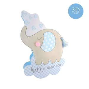 3D Baby Boy Card Alongside Its Turquoise Envelope