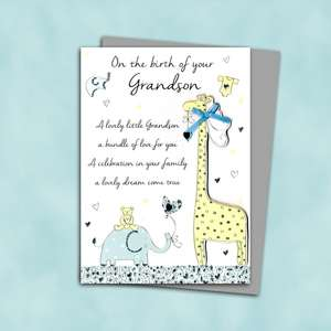 Birth Of Grandson Baby Giraffe Design Alongside Its Silver Envelope