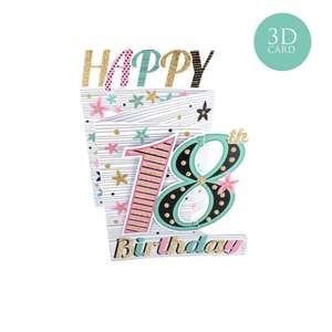 3 Fold Age 18 Female Birthday Card Alongside Its Gold Envelope