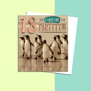 Age 18 Penguin Themed Birthday Card Alongside Its White Envelope