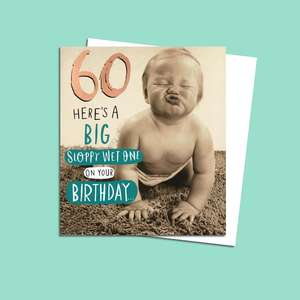 Age 60 Funny Birthday Card Alongside Its White Envelope