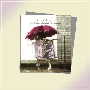 Sister Whatever The Weather Birthday Card Alongside Its Silver Envelope