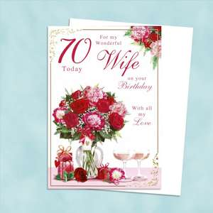 Wife Age 70 Birthday Card Alongside Its White Envelope
