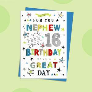 Nephew Age 16 Birthday Card Displayed On A Shelf