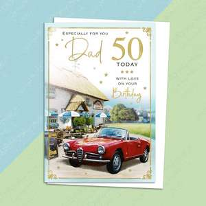 Dad age 50 Birthday Card Alongside Its White Envelope