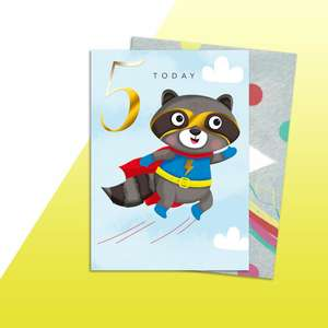 Super Raccoon Age 5 Birthday Card Alongside Its rainbow Envelope