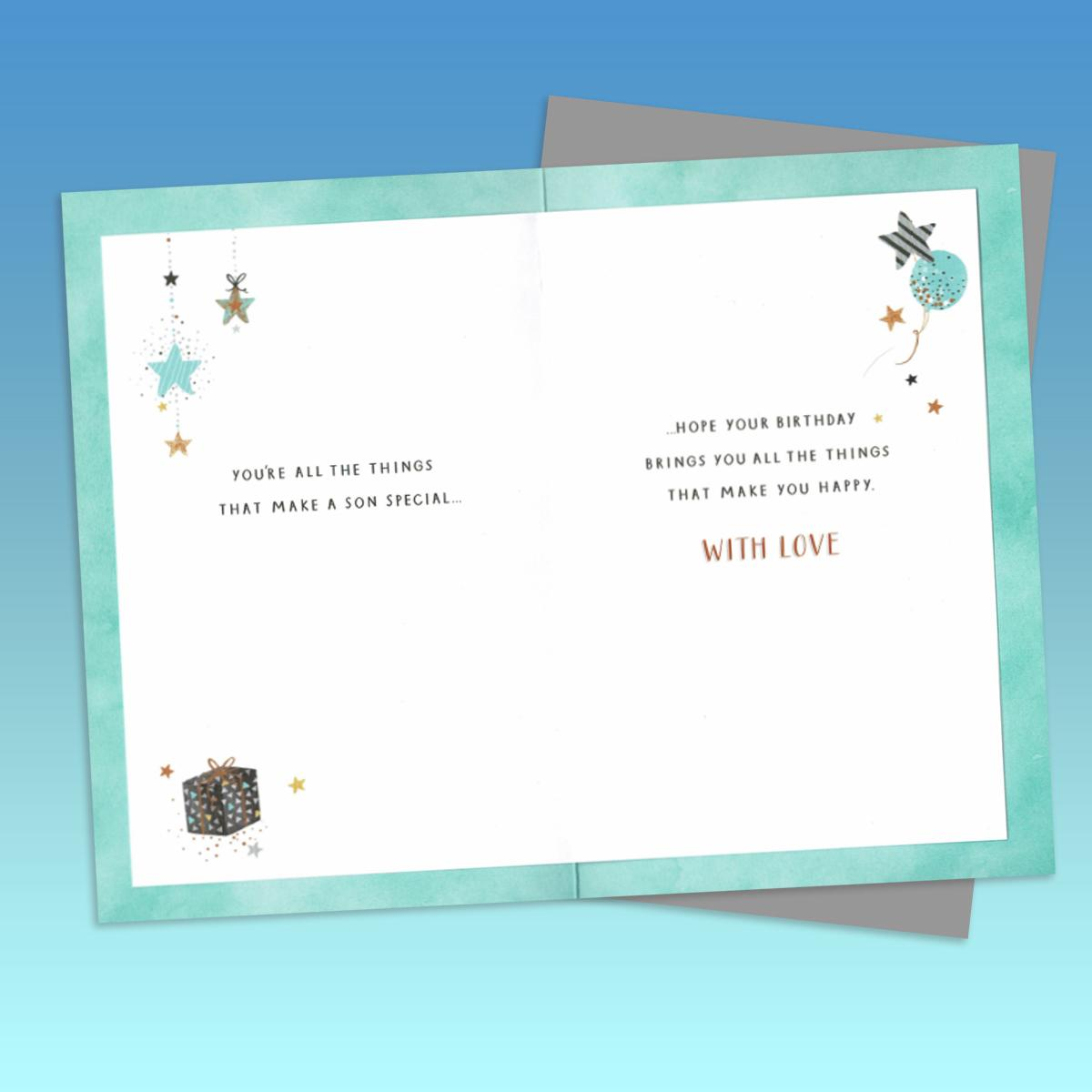 Inside Image Of Son Birthday Card Showing Layout And Printed Text