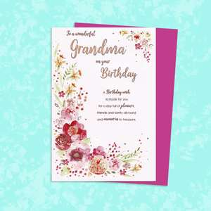 Grandma Floral Border Birthday Card Alongside Its Magenta Envelope