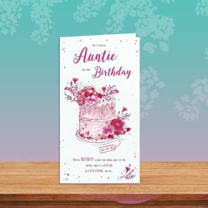 Auntie Decorated Cake Card Sitting On The Shelf