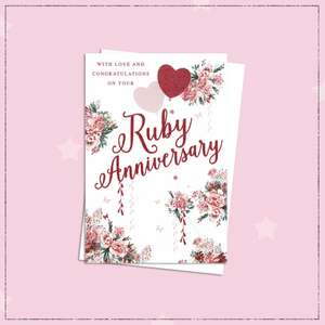Ruby Wedding Anniversary Card Sat On A Display Shelf
