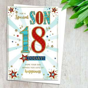 Son 18th Birthday Card Alongside Its White Envelope