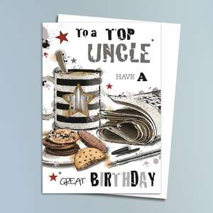 Uncle Birthday Card Alongside Its White Envelope