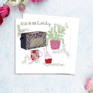 Radio Themed Ladies Birthday Card Alongside Its White Envelope