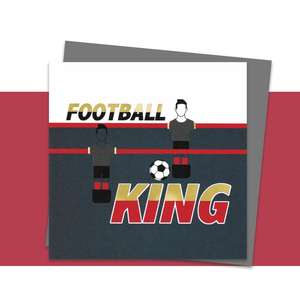 Football Themed Greeting Card Alongside Its Dark Grey Envelope