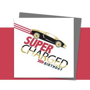 Super Charged Car Themed Birthday Card Alongside Its Dark Grey Envelope