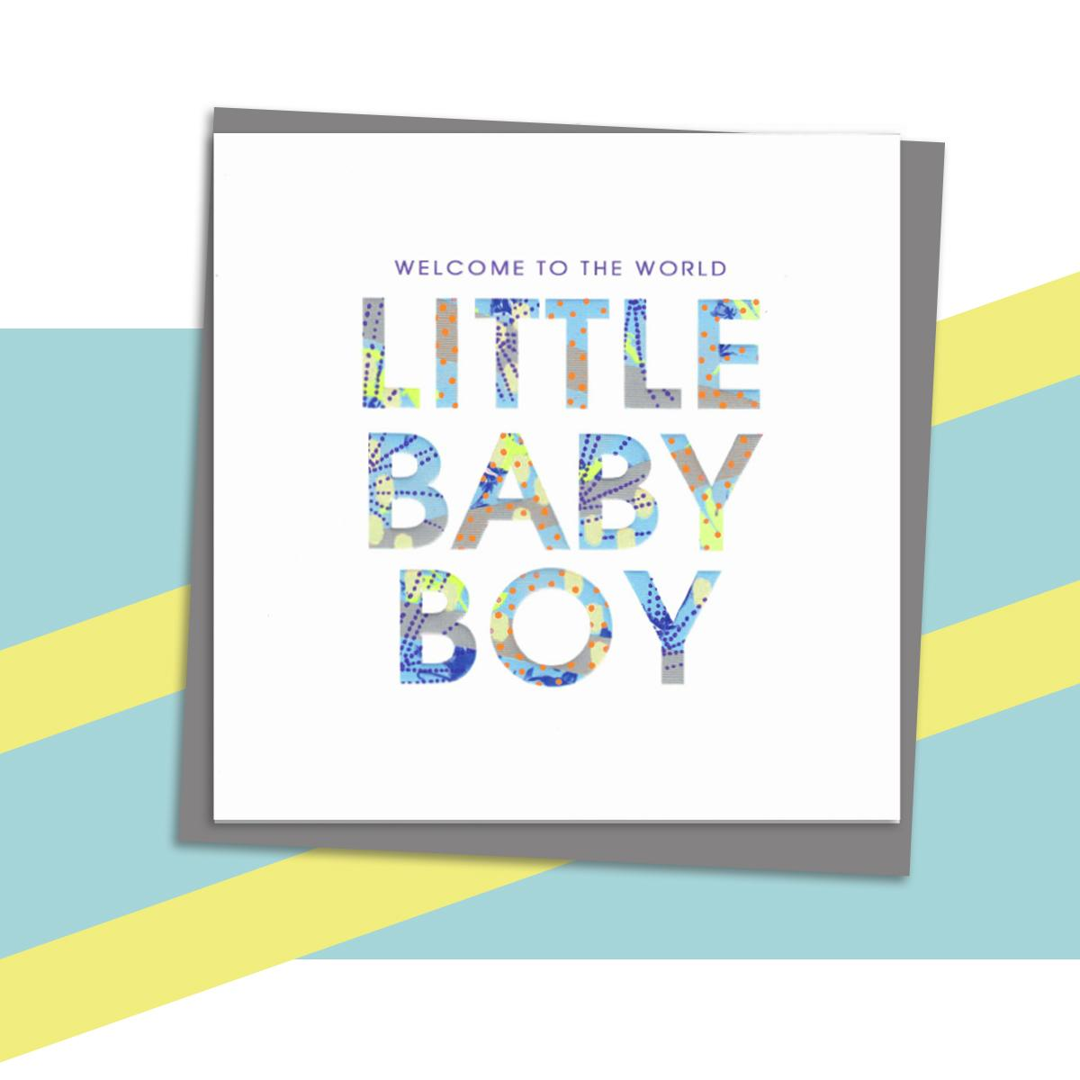 Little Baby Greeting Card Alongside Its Dark Grey Envelope
