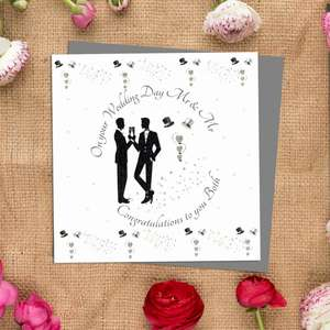 Mr And Mr Wedding Day Card Alongside Its Ivory Envelope