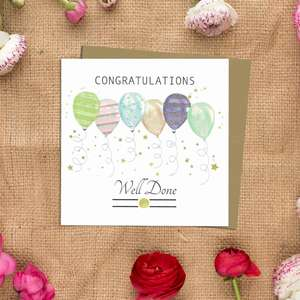 Congratulations Balloons Greeting Card Alongside Its Kraft Envelope