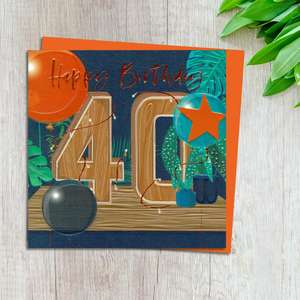 Age 40 Birthday Card Complete With Neon Orange Envelope