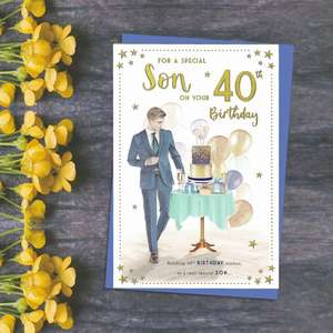 Son 40th Birthday Card Featuring A Nest Of Presents