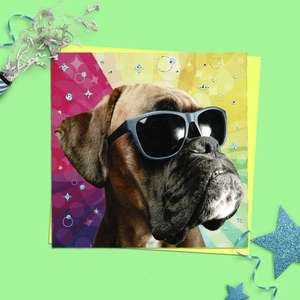 Boxer Dog Birthday Card Alongside Its Yellow Envelope